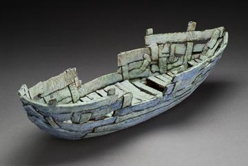 One of Holden McCurry's journey boat sculptures.